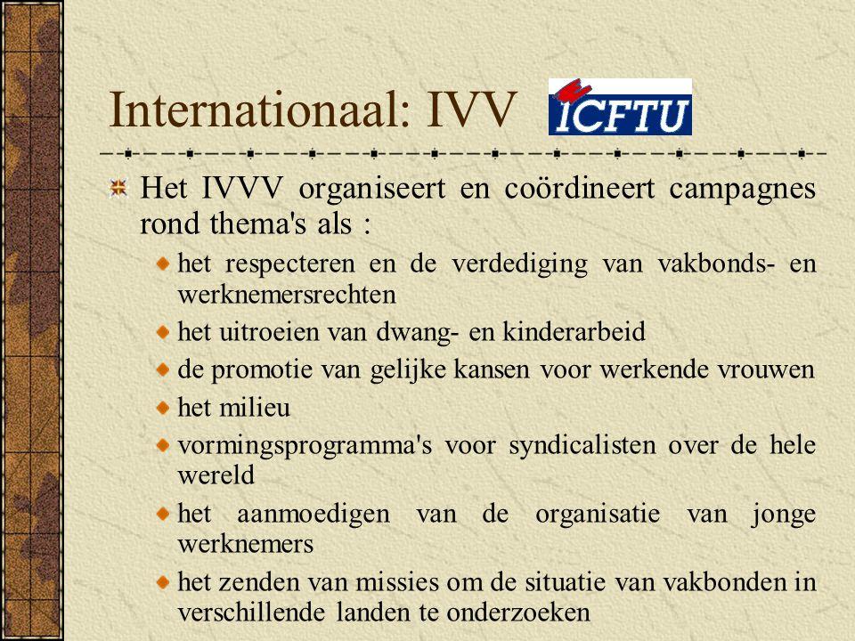 Internationaal: IVV Het IVVV organiseert en coördineert campagnes rond thema s als :