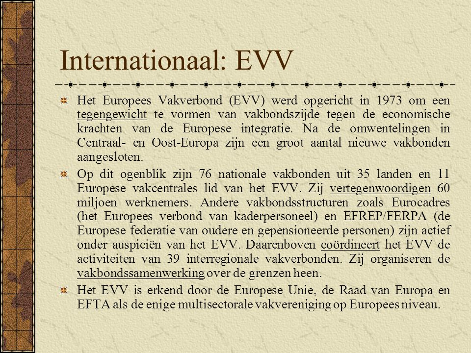Internationaal: EVV