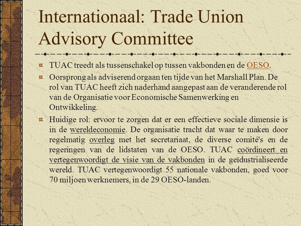 Internationaal: Trade Union Advisory Committee