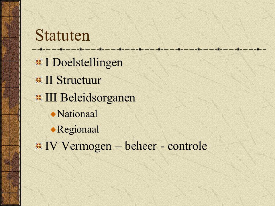 Statuten I Doelstellingen II Structuur III Beleidsorganen