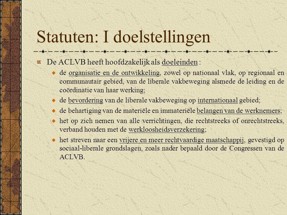 Statuten: I doelstellingen