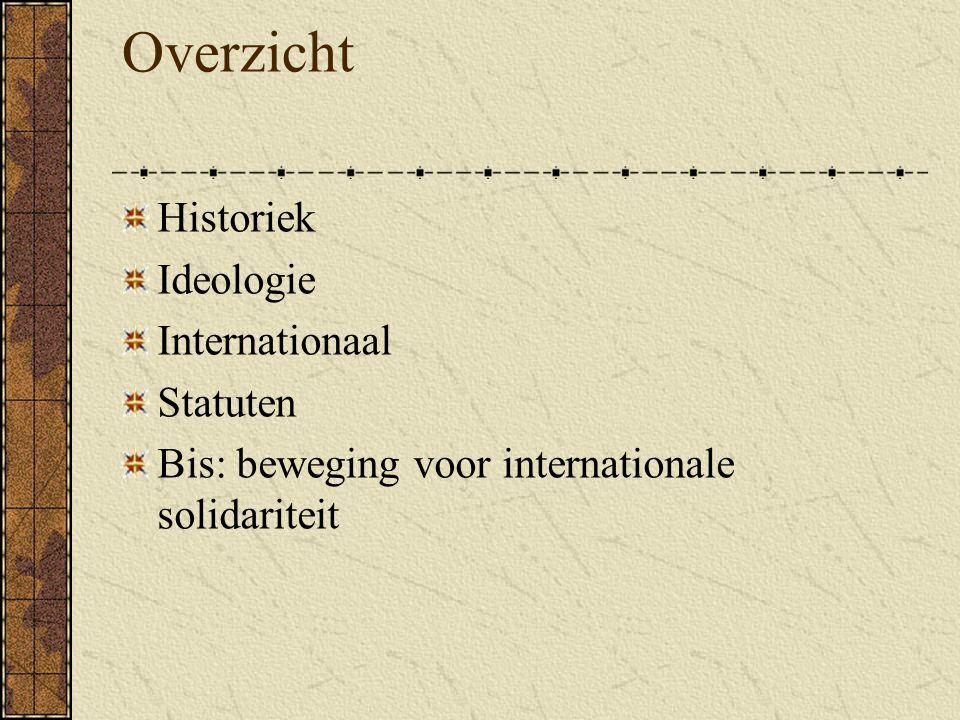 Overzicht Historiek Ideologie Internationaal Statuten