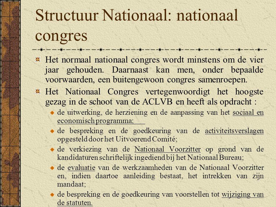 Structuur Nationaal: nationaal congres