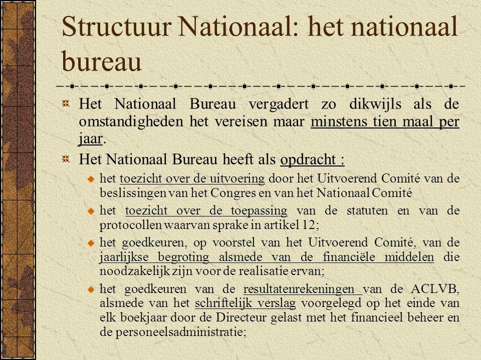 Structuur Nationaal: het nationaal bureau
