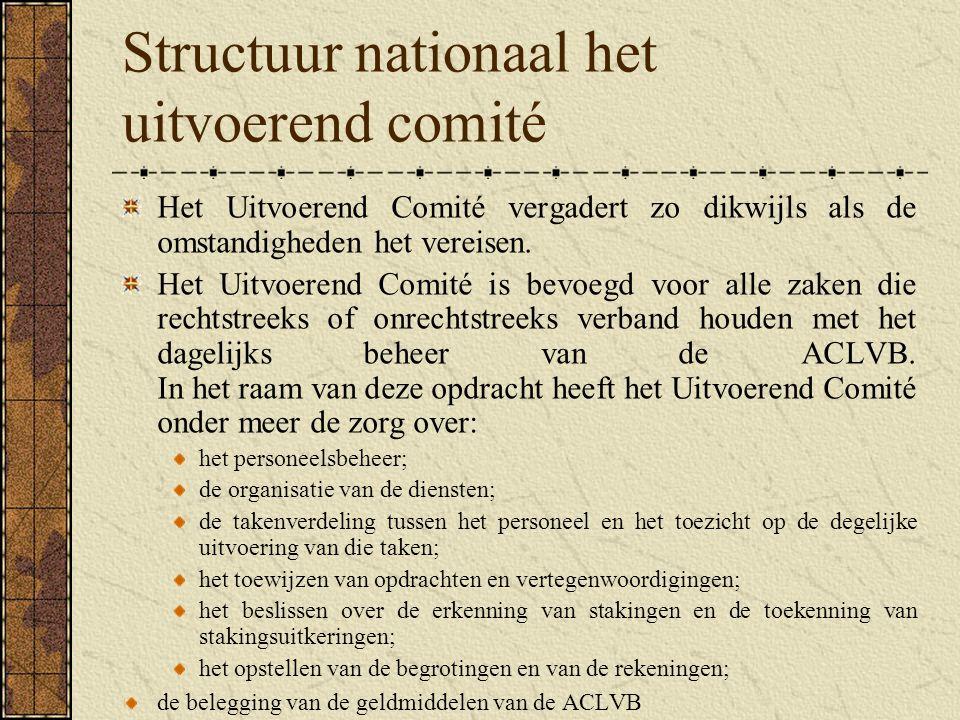 Structuur nationaal het uitvoerend comité