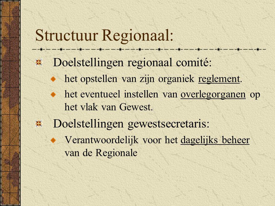 Structuur Regionaal: Doelstellingen regionaal comité: