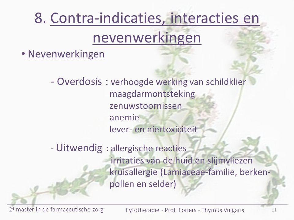 8. Contra-indicaties, interacties en nevenwerkingen