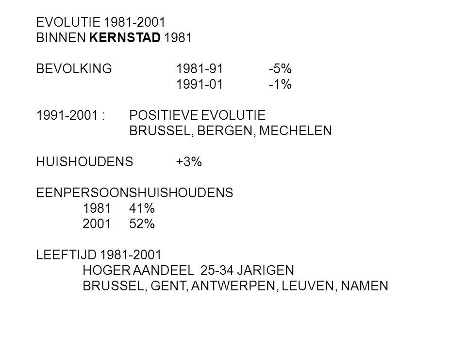 EVOLUTIE 1981-2001 BINNEN KERNSTAD 1981. BEVOLKING 1981-91 -5% 1991-01 -1% 1991-2001 : POSITIEVE EVOLUTIE.