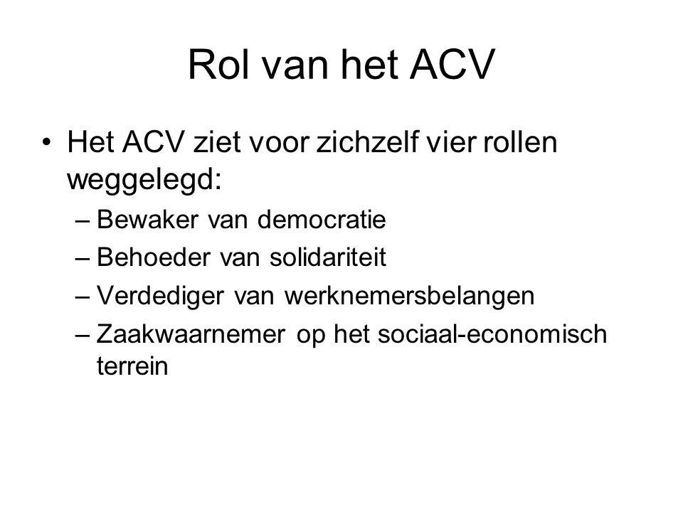 Rol van het ACV Het ACV ziet voor zichzelf vier rollen weggelegd: