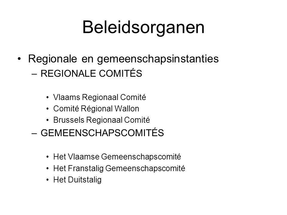 Beleidsorganen Regionale en gemeenschapsinstanties REGIONALE COMITÉS