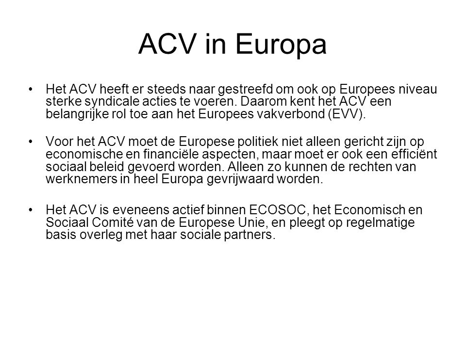 ACV in Europa