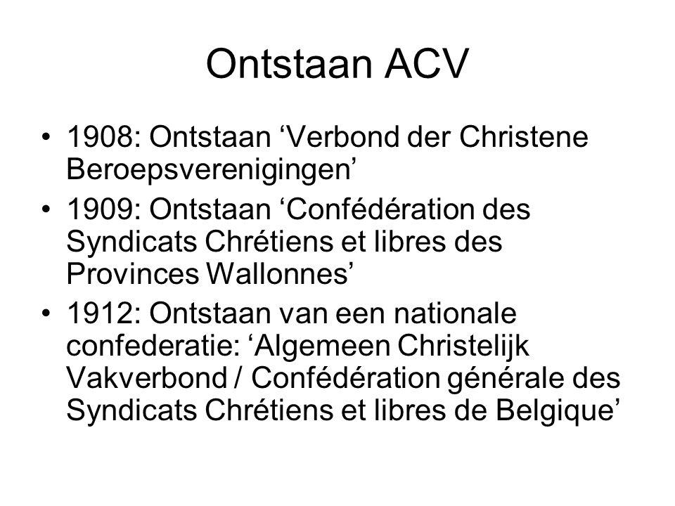 Ontstaan ACV 1908: Ontstaan 'Verbond der Christene Beroepsverenigingen'