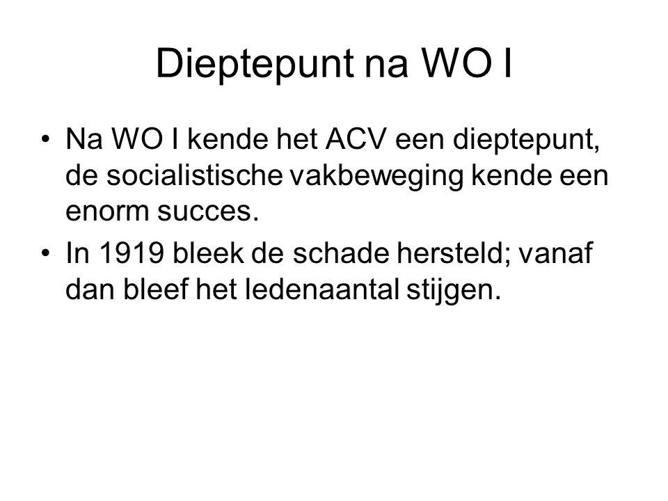 Dieptepunt na WO I Na WO I kende het ACV een dieptepunt, de socialistische vakbeweging kende een enorm succes.