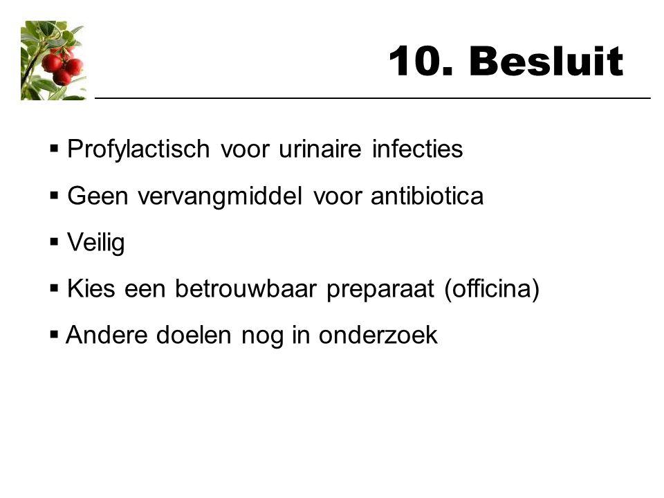 10. Besluit Profylactisch voor urinaire infecties