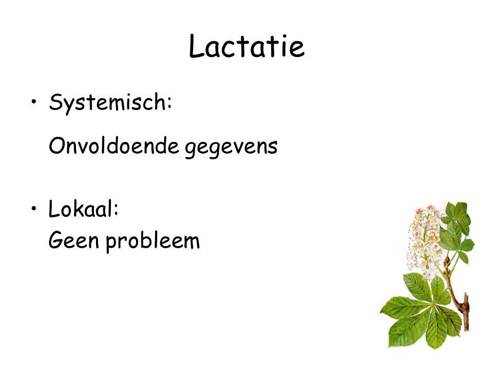 Lactatie Systemisch: Onvoldoende gegevens Lokaal: Geen probleem