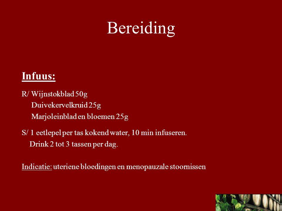 Bereiding Infuus: R/ Wijnstokblad 50g Duivekervelkruid 25g