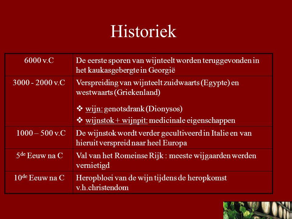 Historiek 6000 v.C. De eerste sporen van wijnteelt worden teruggevonden in het kaukasgebergte in Georgië.