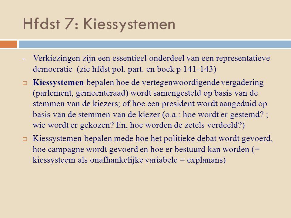 Hfdst 7: Kiessystemen - Verkiezingen zijn een essentieel onderdeel van een representatieve democratie (zie hfdst pol. part. en boek p 141-143)