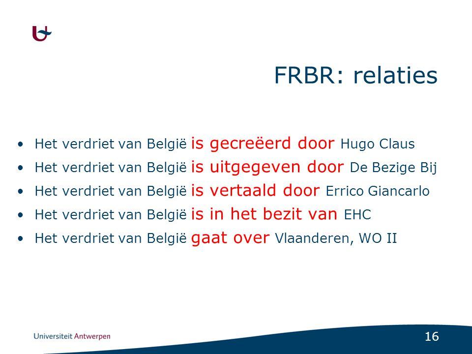 FRBR: relaties Het verdriet van België is gecreëerd door Hugo Claus