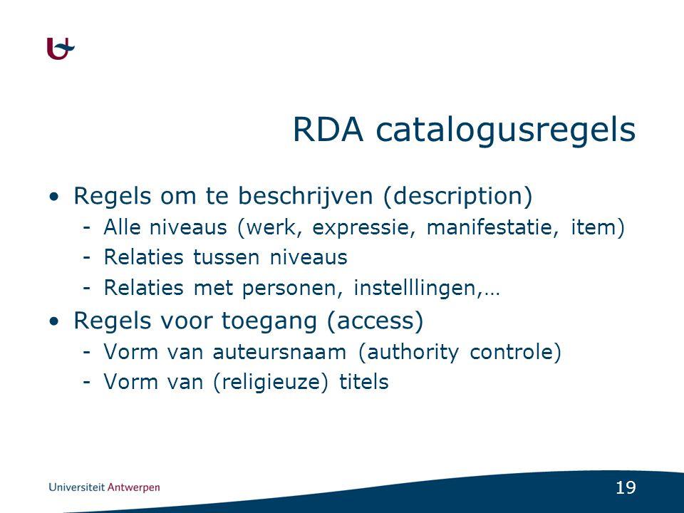 RDA catalogusregels Regels om te beschrijven (description)