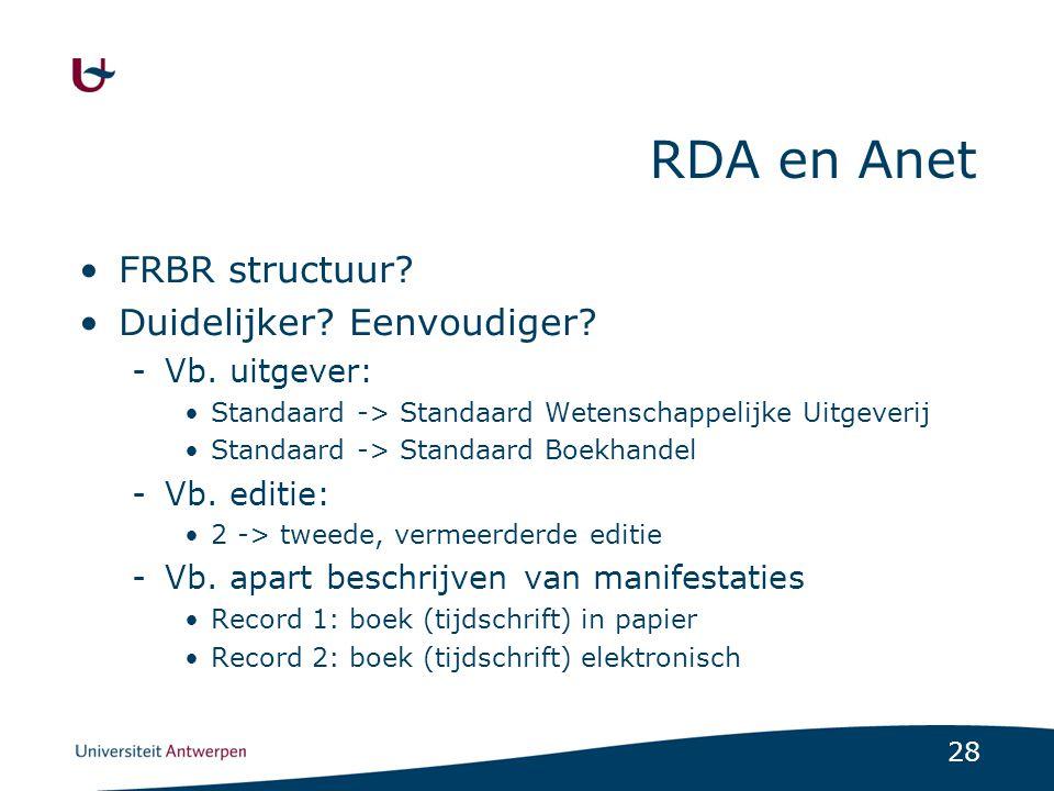 RDA en Anet FRBR structuur Duidelijker Eenvoudiger Vb. uitgever: