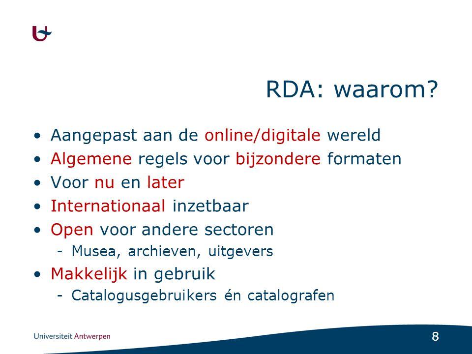 RDA: waarom Aangepast aan de online/digitale wereld