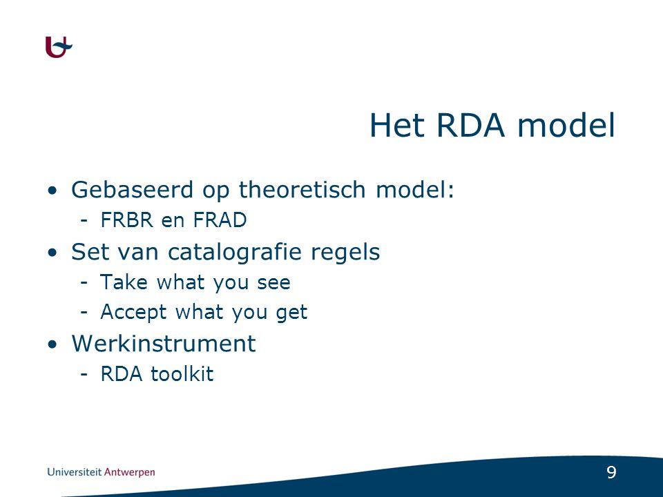 Het RDA model Gebaseerd op theoretisch model: