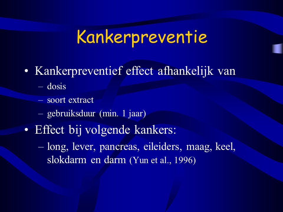 Kankerpreventie Kankerpreventief effect afhankelijk van