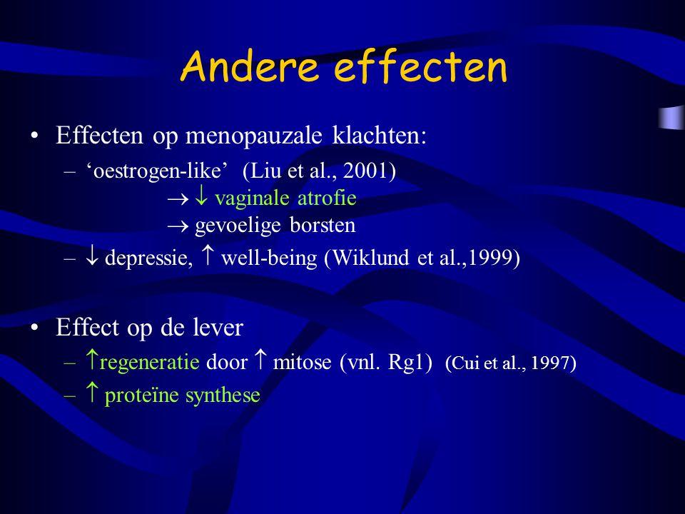 Andere effecten Effecten op menopauzale klachten: Effect op de lever