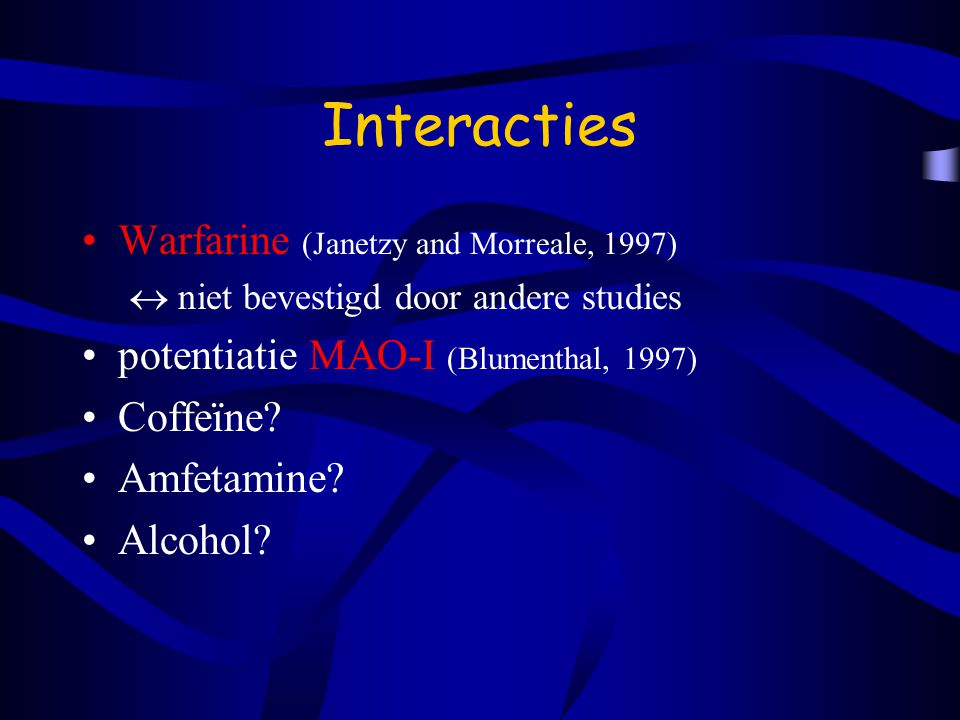 Interacties Warfarine (Janetzy and Morreale, 1997)