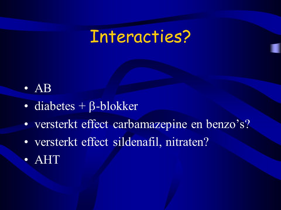 Interacties AB diabetes + -blokker