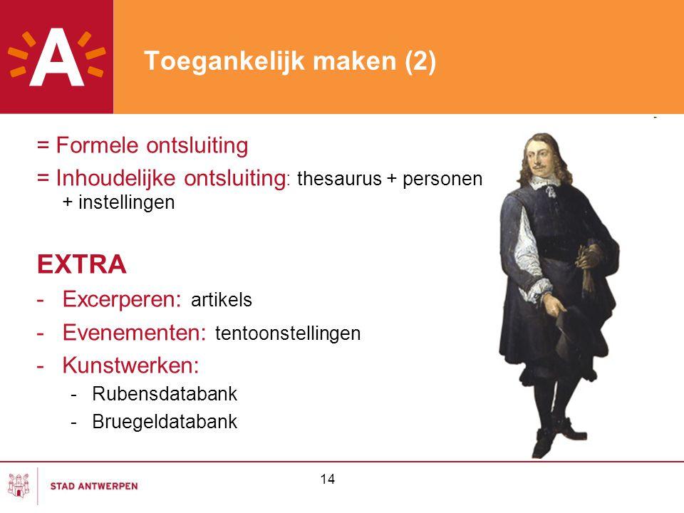 Toegankelijk maken (2) EXTRA = Formele ontsluiting
