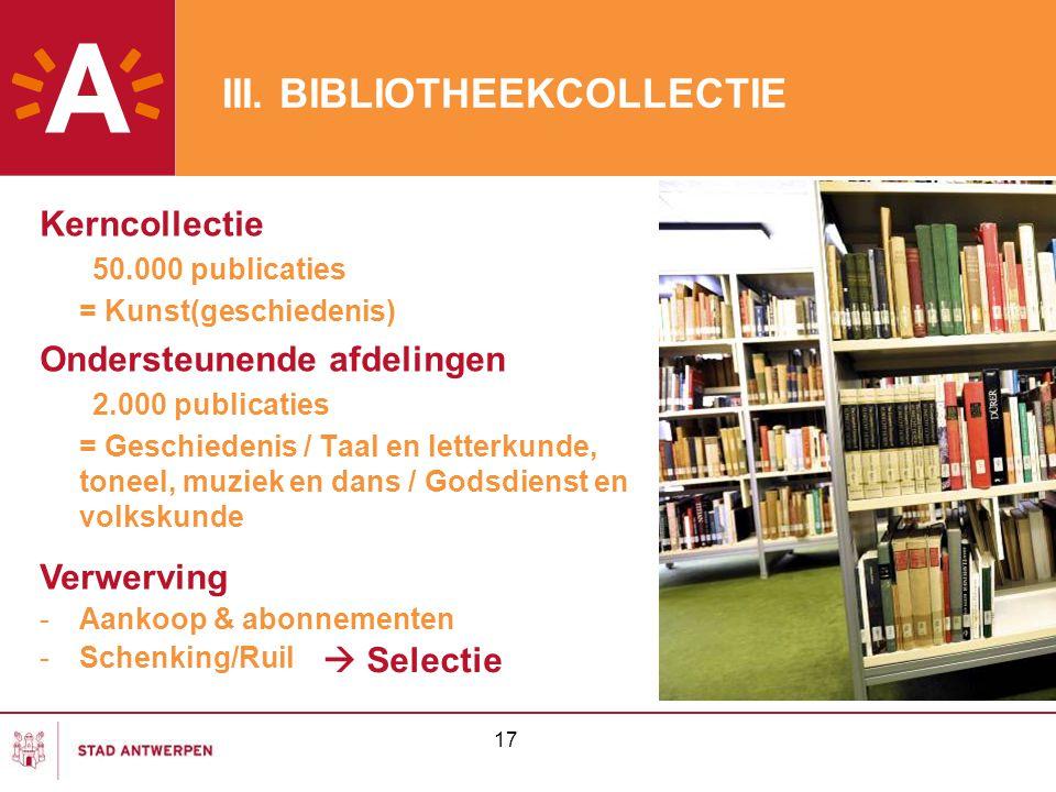III. BIBLIOTHEEKCOLLECTIE