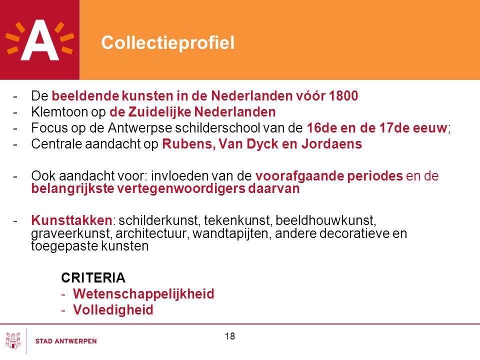 Collectieprofiel De beeldende kunsten in de Nederlanden vóór 1800