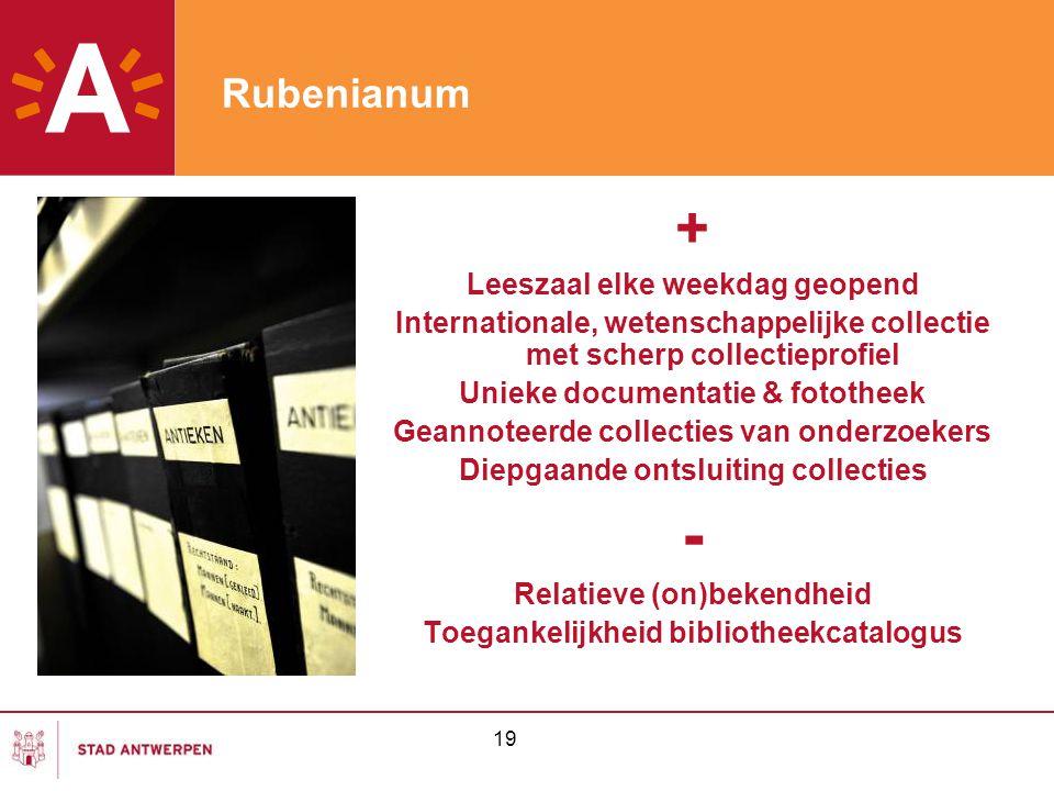 - + Rubenianum Leeszaal elke weekdag geopend