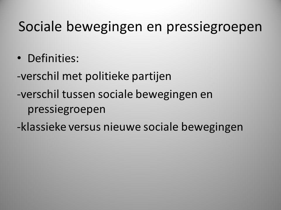 Sociale bewegingen en pressiegroepen