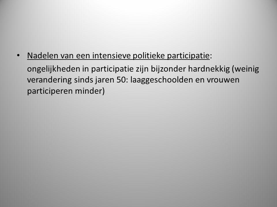 Nadelen van een intensieve politieke participatie: