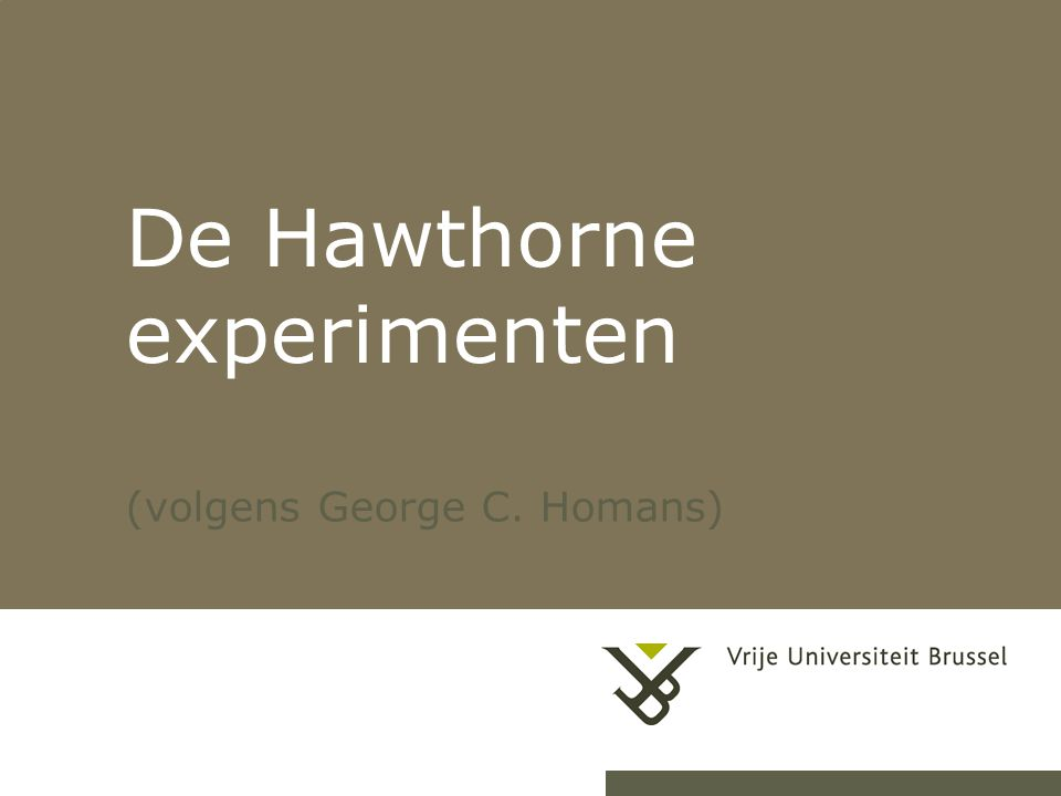 De Hawthorne experimenten