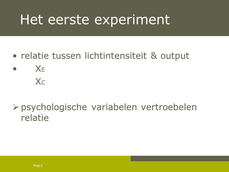 Het eerste experiment relatie tussen lichtintensiteit & output XE XC