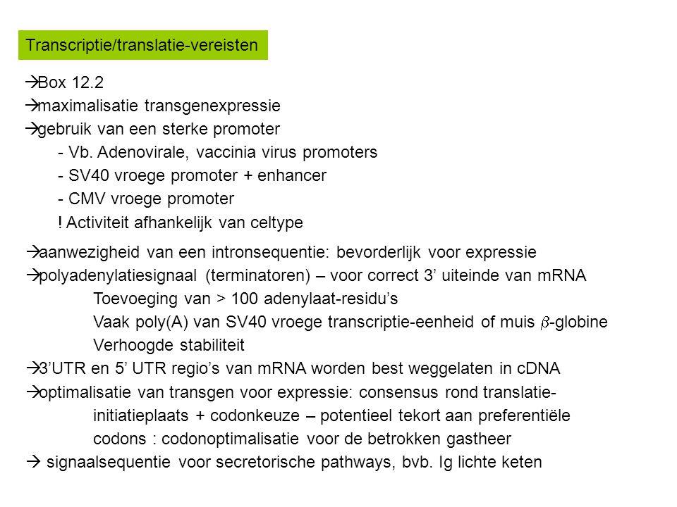 Transcriptie/translatie-vereisten