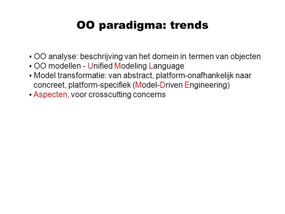 OO paradigma: trends OO analyse: beschrijving van het domein in termen van objecten. OO modellen - Unified Modeling Language.