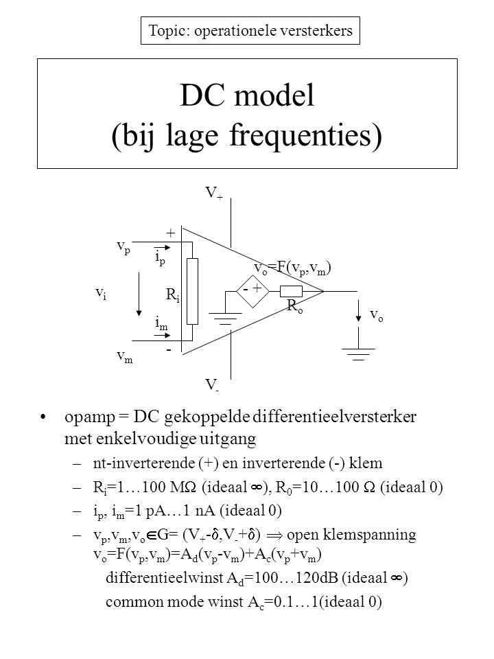 DC model (bij lage frequenties)