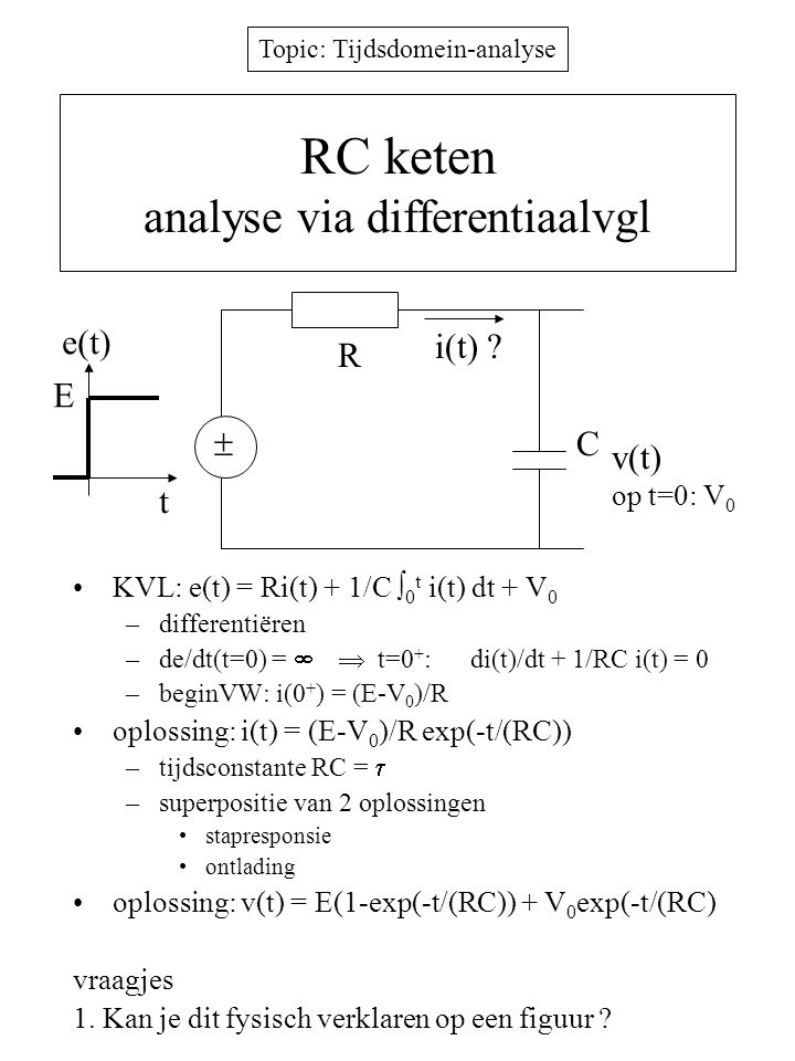 RC keten analyse via differentiaalvgl