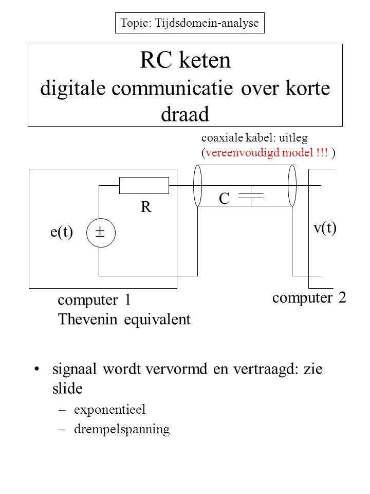 RC keten digitale communicatie over korte draad