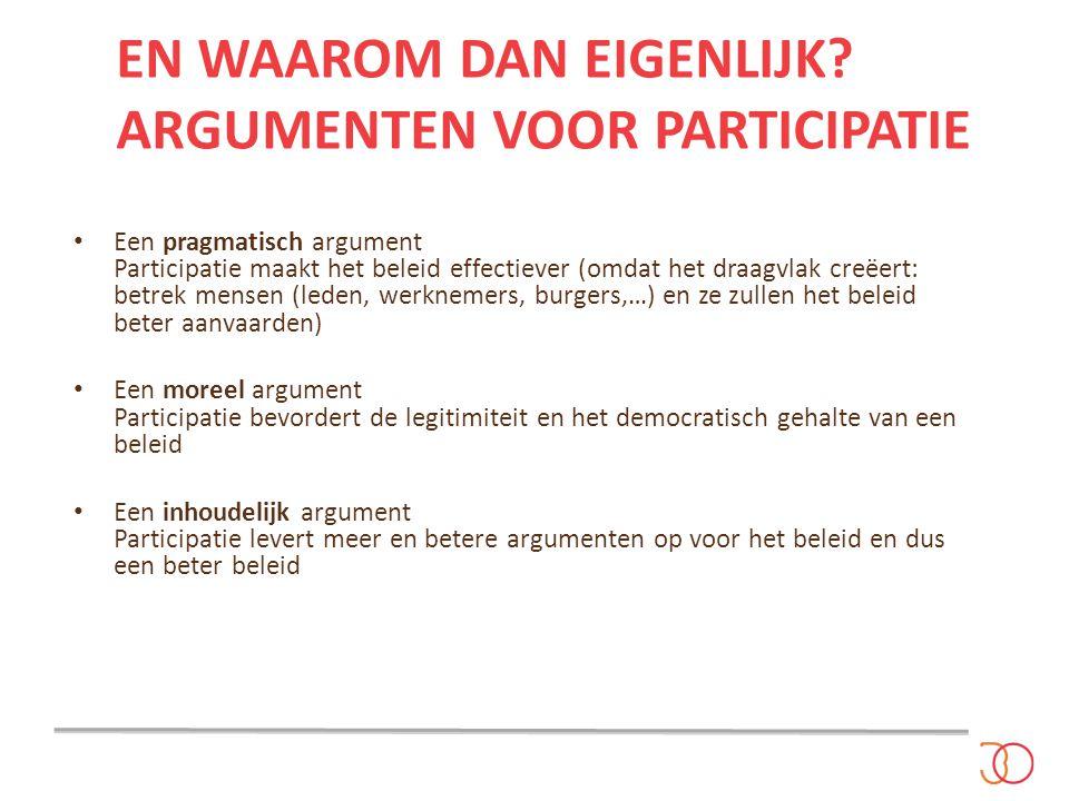 En waarom dan eigenlijk Argumenten voor participatie