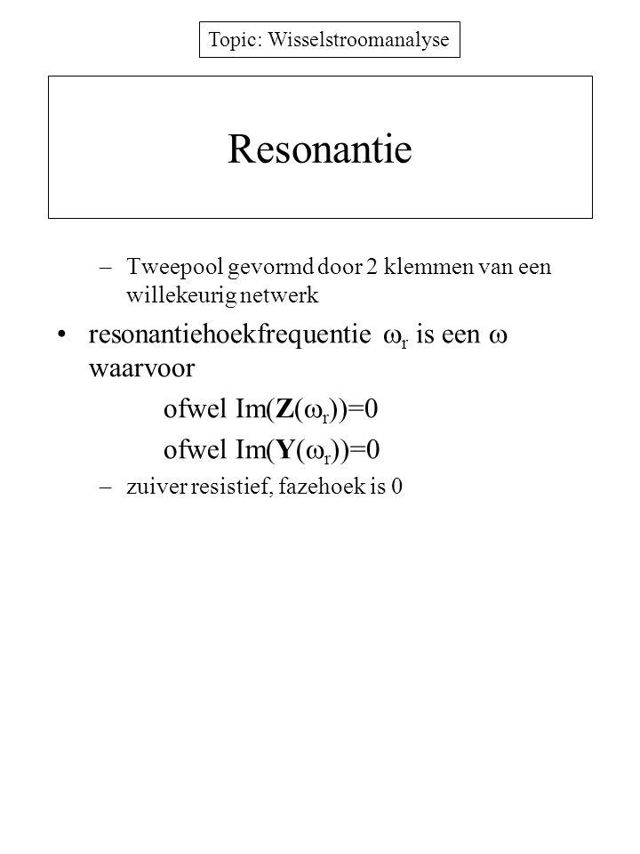 Resonantie resonantiehoekfrequentie r is een  waarvoor