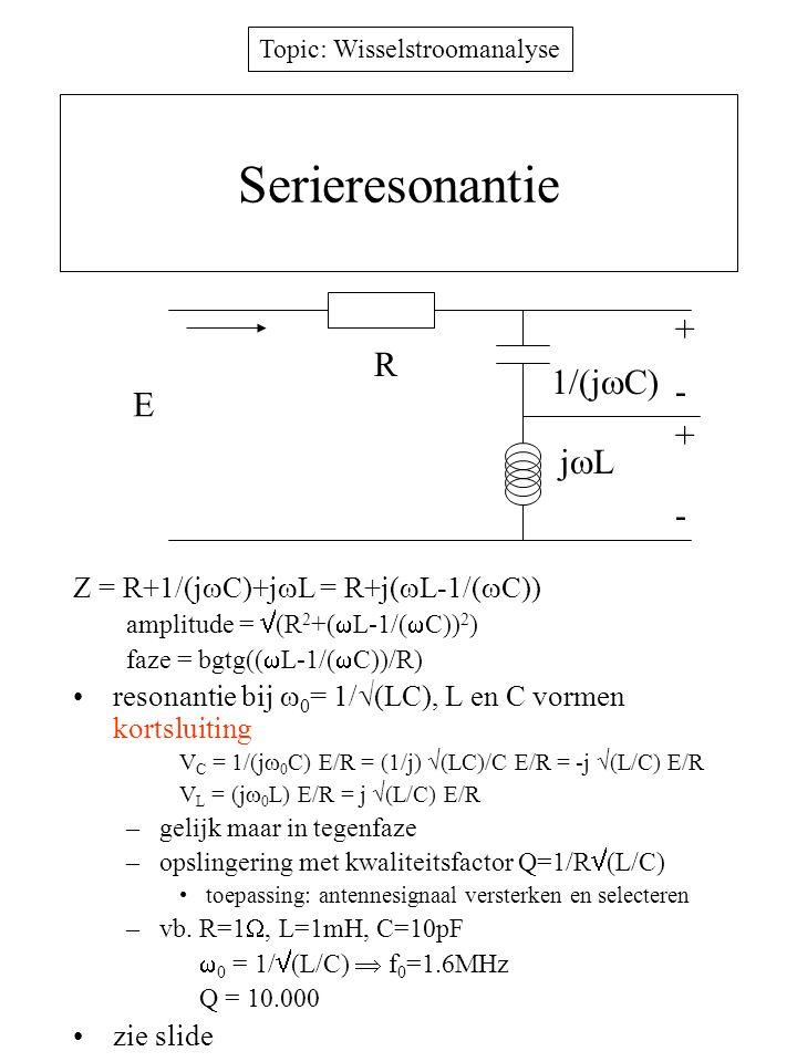 Serieresonantie + R 1/(jC) - E + jL -