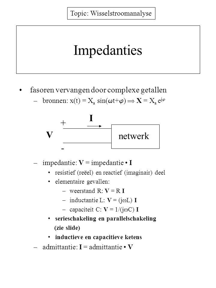 Impedanties I + V netwerk - fasoren vervangen door complexe getallen