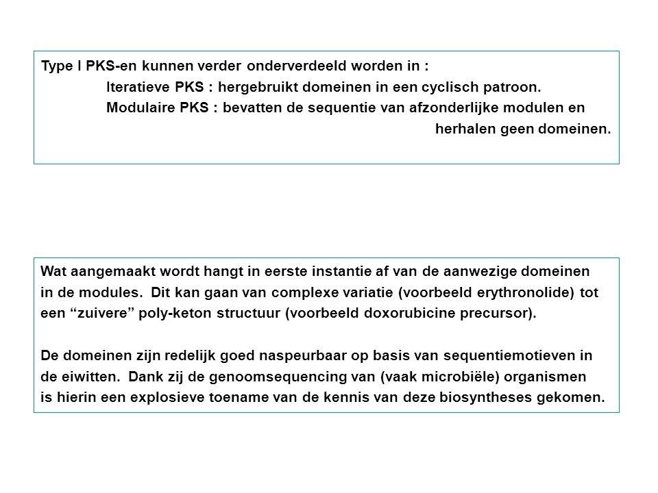 Type I PKS-en kunnen verder onderverdeeld worden in :