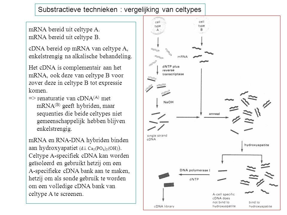 Substractieve technieken : vergelijking van celtypes